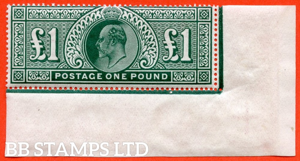 SG. 320. M56. £1.00 Deep Green. A lightly mounted mint bottom right hand corner marginal example.