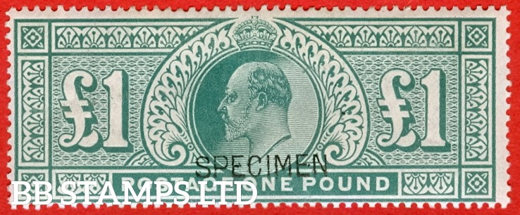 "SG. 266. M55 s. £1.00 Dull blue - green. A fine mounted mint example overprinted "" SPECIMEN""."