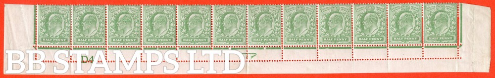 "SG. 217. M2 (1). ½d pale yellowish green. A mounted mint control "" D4 imperf "" complete bottom row showing a superb example of the "" EXTRA BEATS OF THE PERFORATION COMB "" variety. Ex The superb collection of LMB."