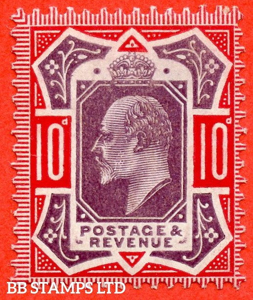 "SG. 256. M43 (5). 10d Dull Purple & Scarlet ©. A superb UNMOUNTED MINT example with the variety "" mark after ' E ' of REVENUE "" which is UNLISTED by SG. On DLR printings. Ex. The superb collection of Lady Mairi Bury."
