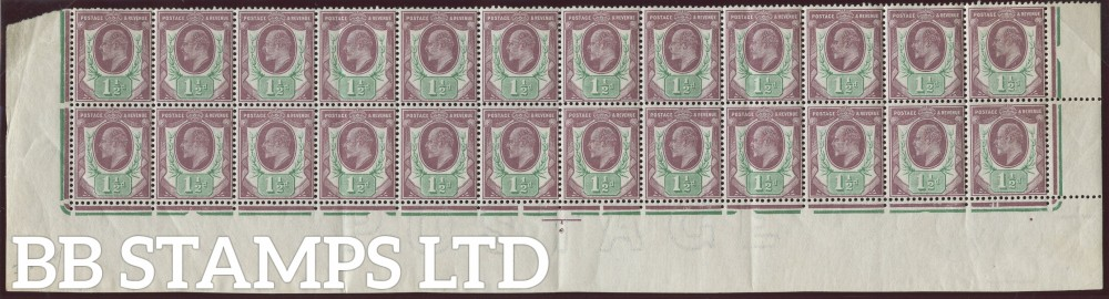 SG. 288. M10 (5). 1½d Dull Purple & Green. A fine mint complete 2 bottom rows.
