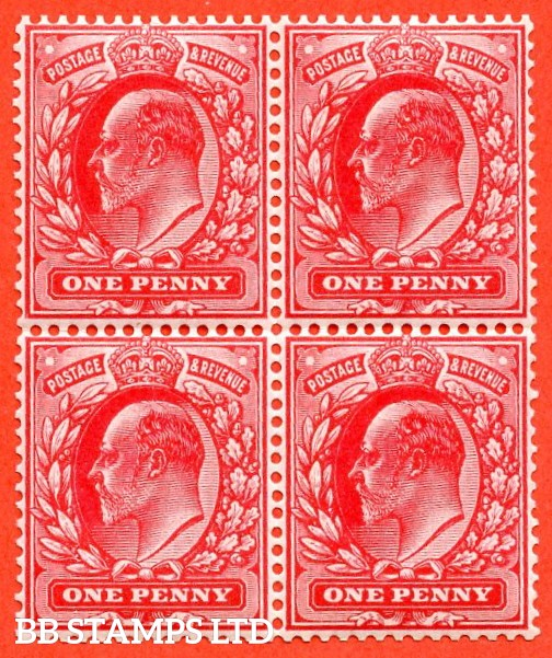 SG. 219 variety M5 ( UNLISTED ). 1d deep rose carmine. A very fine UNMOUNTED MINT block of 4 of this known but unlisted by SG. Edwardian shade variety. Complete with RPS certificate.