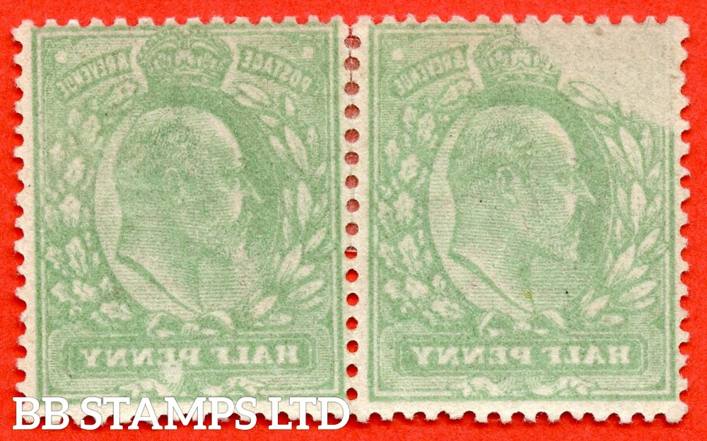 "SG. 268. M3 (2). ½d Dull Green. A fine lightly mounted mint horizontal pair with a super "" OFFSET "" ERROR. A scarce multiple."