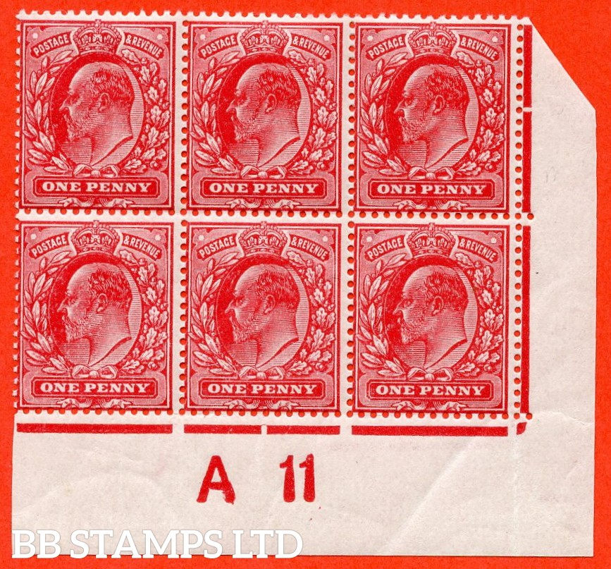 """SG. 274 variety M6 (6). 1d Deep Rose Carmine. A superb UNMOUNTED MINT control """" A11 close """" block of 6 of this very scarce Edwardian shade complete with certificate. Ex The superb collection of Lady Mairi Bury."""
