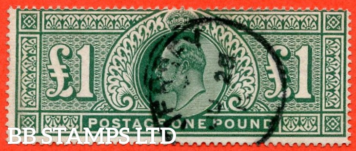 """SG. 320. M56. £1.00 Deep Green. A fine """" June 28th JERSEY """" CDS used example."""