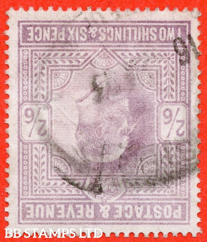 SG. 260 wi. M48 (1) b. 2/6 Lilac. INVERTED WATERMARK. A good - fine used example of this RARE Edwardian watermark variety.