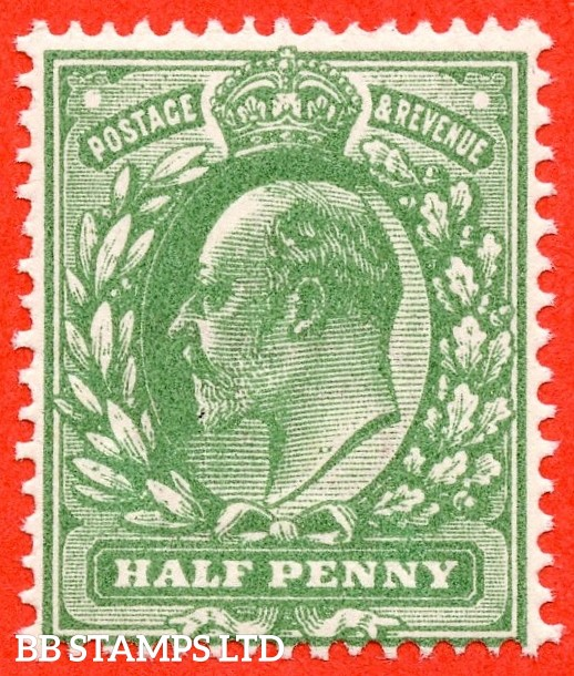 SG. 279 a. Variety M4 (3). ½d Deep Dull Green (Very blotchy print). A SUPERB UNMOUNTED MINT example of this scarce Edwardian shade complete with certificate.