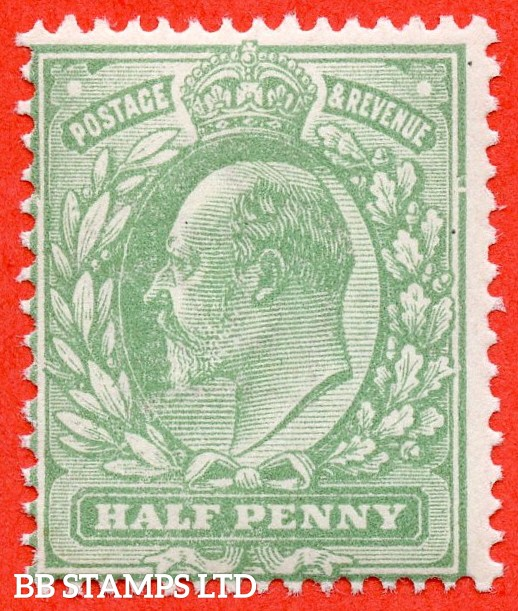 "SG. M4 (4 ) h. ½d Pale Bluish Green. A superb UNMOUNTED MINT example clearly showing the listed variety "" Major frame breaks ( Pl. 64b, row 18/10 ) ""."