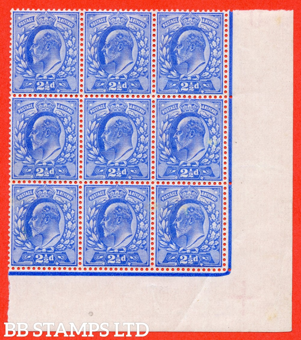 SG. 230 variety M16 ( UNLISTED ). 2½d Bright Ultramarine. A superb UNMOUNTED MINT bottom right hand corner marginal block of 9 of this known but unlisted by SG. Edwardian shade variety complete with Hendon certificate.