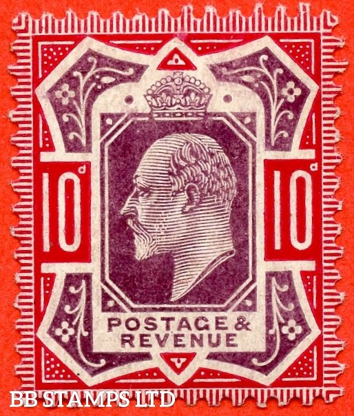 SG. 255 Variety M43 (4). 10d Slate Purple & (Glossy) Carmine ©. A superb UNMOUNTED MINT example of this VERY RARE Edwardian shade. Complete with RPS certificate.