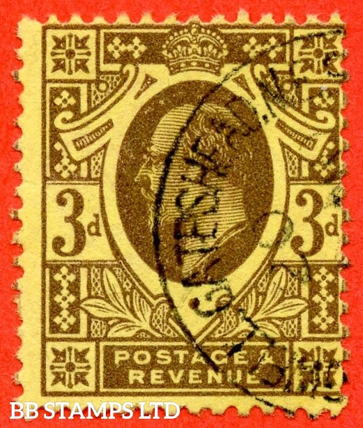 "SG. 277. M21 (1). 3d Purple/Lemon. A very fine "" 24th October 1911 "" CDS used example of this very difficult used Edwardian shade."