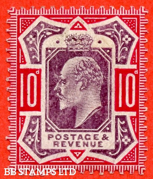 SG. 254b a. M43 (1) b. 10d Dull Purple & Carmine ©. NO CROSS ON CROWN. A fine mounted mint example.