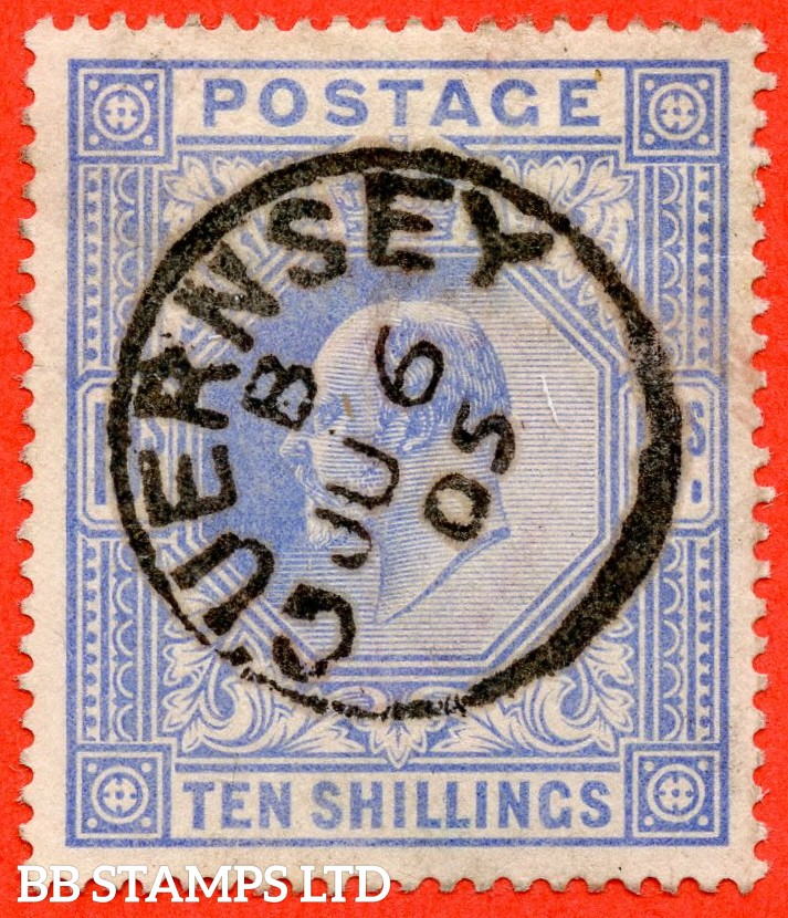 "SG. 265. M53 (1) 10/- Ultramarine. A very fine "" June 6th 1905 GUERNSEY "" CDS used example."