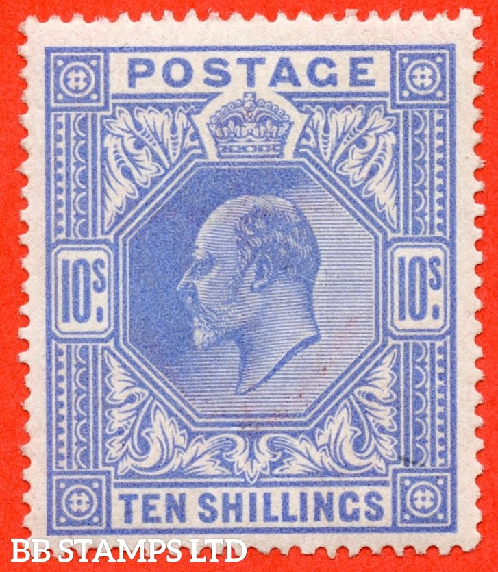 SG. 319. M54 (2). 10/- Blue. A very fine UNMOUNTED MINT example of this scarce Edward VII high value.