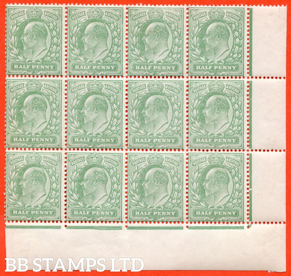 "SG. M4 (4 ). ½d Pale Bluish Green. A superb UNMOUNTED MINT positional corner block of 12 clearly showing the listed variety "" Major frame breaks ( Pl. 64b, row 18/10 ) "".  Ex The superb collection of Lady Mairi Bury."