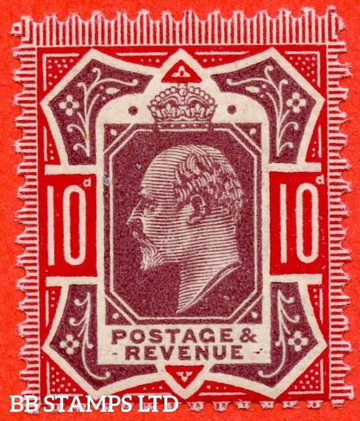 "SG. 311. M44 (6) i. 10d Dull Reddish Purple & Carmine. A Superb UNMOUNTED MINT example showing the listed "" Mark after third ' E ' of REVENUE ""."