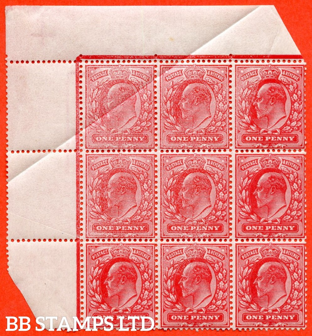 "SG. 219. M5 (1). 1d scarlet. A super UNMOUNTED MINT top left hand corner block of 9 fine partly "" UNCALENDERED PAPER "" ERROR due to paper fold which is Ex The superb collection of Lady Mairi Bury."