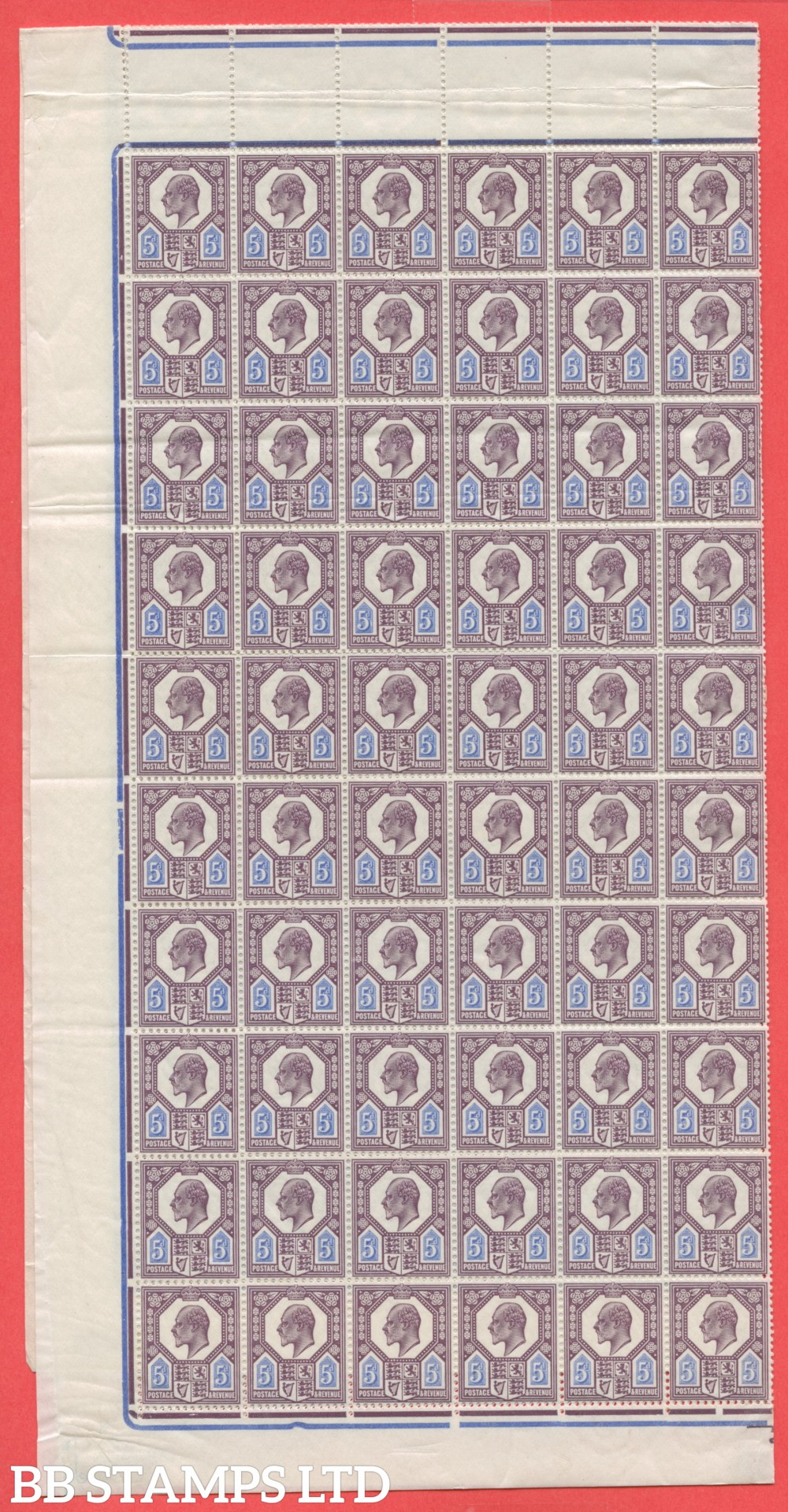 SG. 294 M30 (3) 5d Deep Dull Reddish Purple & Bright Blue. A fine COMPLETE SHEET OF 240. The odd crease as to be expected but VERY RARE to see these days.