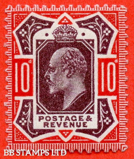 SG. M44 (UNLISTED) 10d Slate Purple & Aniline Scarlet (F). A Superb UNMOUNTED MINT example of this known but unlisted by SG. shade variety complete with certificate.