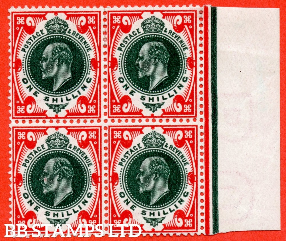 SG. 312. M47 (1). 1/- dark green & scarlet. A fine mounted mint ( 1 stamp UNMOUNTED MINT ) right hand marginal block of 4.