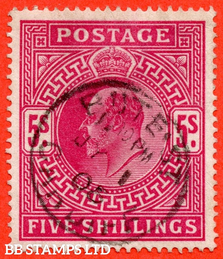 "SG. 264. M51 ( 2 ). 5/- Deep Bright Carmine. A very fine "" 1st July 1905 CARDIFF "" CDS used example."