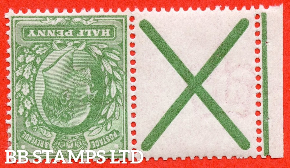 SG. 270 awi. M3 (2)a. MB4a. ½d dull green. INVERTED WATERMARK. A very fine mounted mint example with St. Andrew's cross label attached.