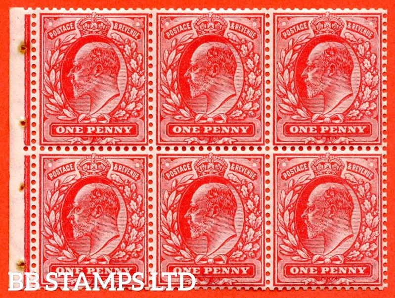 SG. 219. MB5. M5 (1). 1d scarlet. A super UNMOUNTED MINT complete booklet pane. Perf type E.