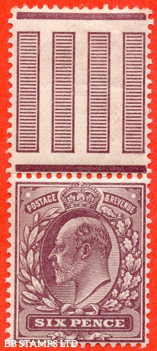 """SG. 298 a. M33A (3) d. 6d Reddish Purple. A super UNMOUNTED MINT interpanneau marginal example with the RARE variety """" No Cross On Crown. Pl. 9 row 11/11 """" variety."""