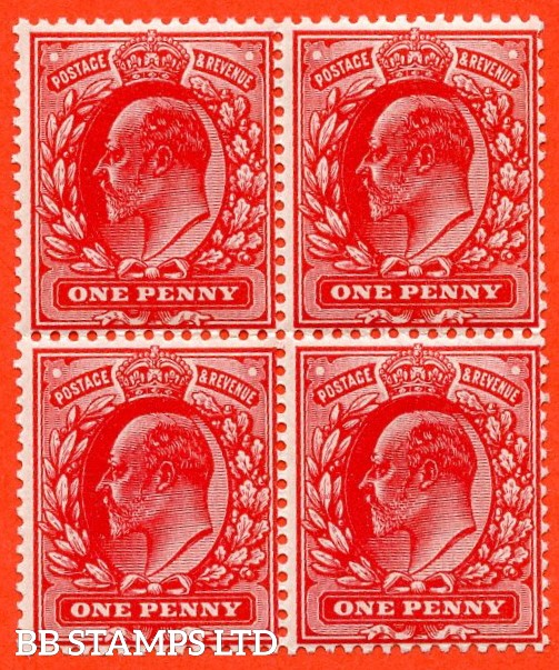 SG. M5 ( UNLISTED). 1d Deep Blood Red. A fine mint ( 2 stamps UNMOUNTED MINT ) block of 4 of this known but unlisted by SG. Shade variety complete with RPS certificate. Ex. The superb collection of Lady Mairi Bury.