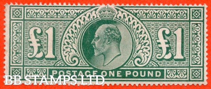 SG. 266. M55. £1.00 dull blue - green. A fine lightly mounted mint example.