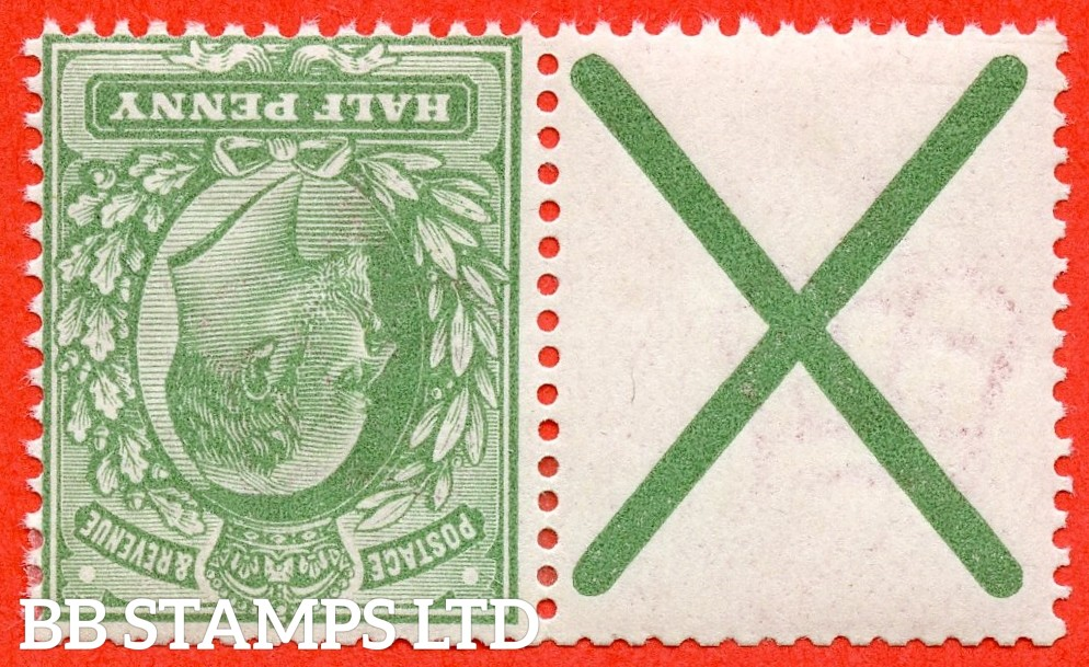 SG. 270 a wi. M3 (2) a. MB4. ½d dull green. INVERTED WATERMARK. A fine mounted mint example with St. Andrew's cross label attached.