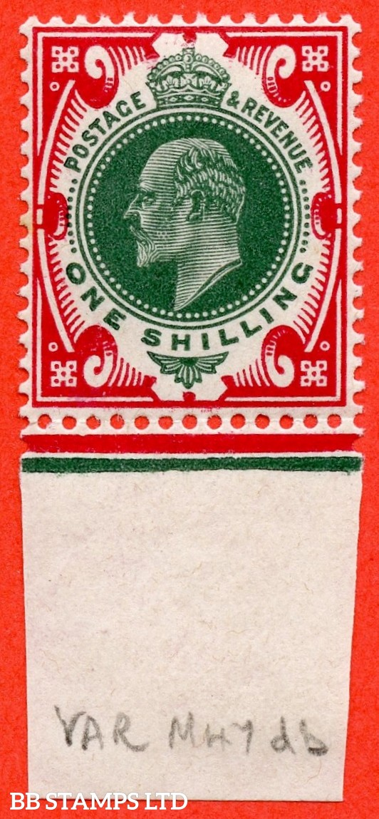 "SG. 314. M47 (5) db. 1/- Green & Carmine. A superb UNMOUNTED MINT bottom marginal example with the listed "" Vertical scratch at back of ear ( PL.H2a ) and bottom frame break repaired ( Pl. B5. Row 20/11 ). No date cuts in marginal rule."