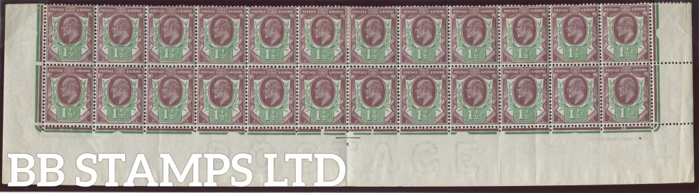 SG. M10 (3). 1½d Dull Reddish Purple & Bright Green. A fine mint complete 2 bottom rows.