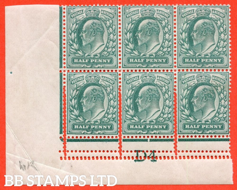 """SG. 215. M1 (1). ½d dull blue green. A super lightly mounted mint control """" D4 imperf """" block of 6 showing a superb example of the """" EXTRA BEATS OF THE PERFORATION COMB """" variety. Ex The superb collection of Lady Mairi Bury."""