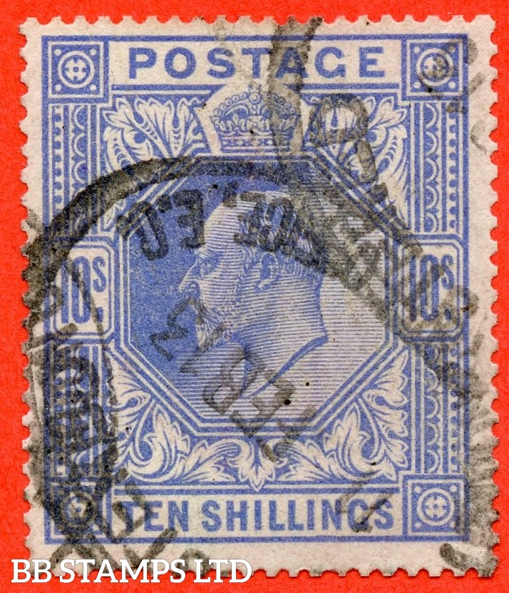 SG. 319. M54 (2). 10/- Blue. A good used example of this scarce Edward VII high value.