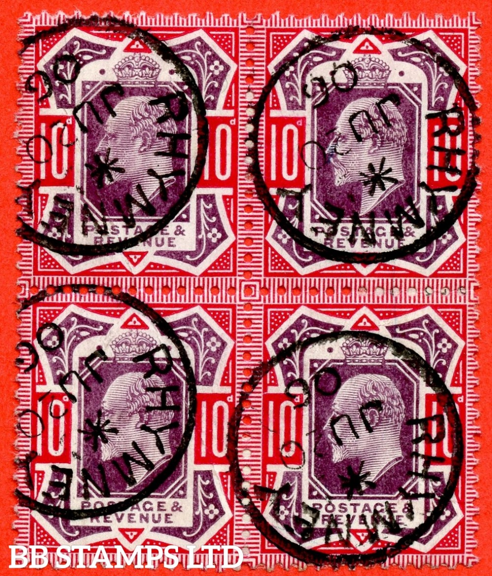 "SG. 255 Variety M43 (3). 10d Slate Purple & Deep Carmine ©. A superb "" RHYMNEY "" CDS used block of 4. A very scarce multiple in this grade."
