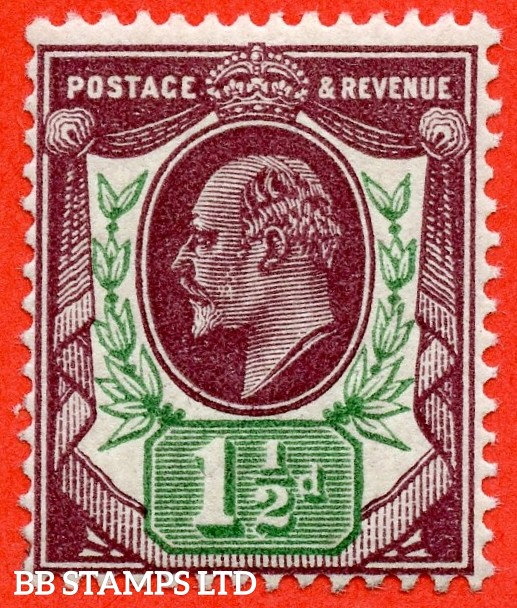 SG. M10 (6). 1½d Deep Plum & Deep Green. A superb UNMOUNTED MINT example of this very scarce Edwardian shade variety complete with RPS certificate.