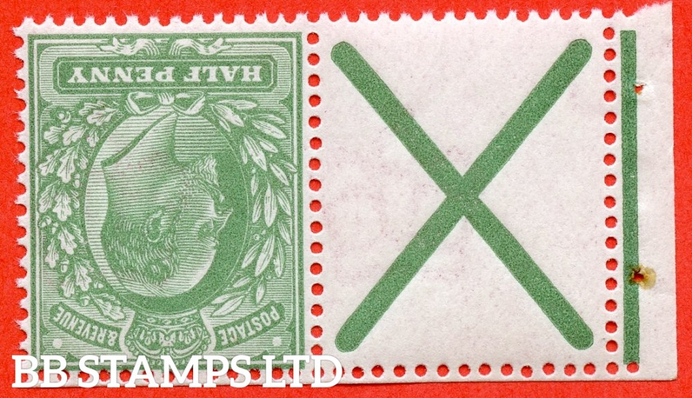 SG. 270 a wi. M3 (2) a. MB4. ½d dull green. INVERTED WATERMARK. A superb UNMOUNTED MINT example with St. Andrew's cross label attached.