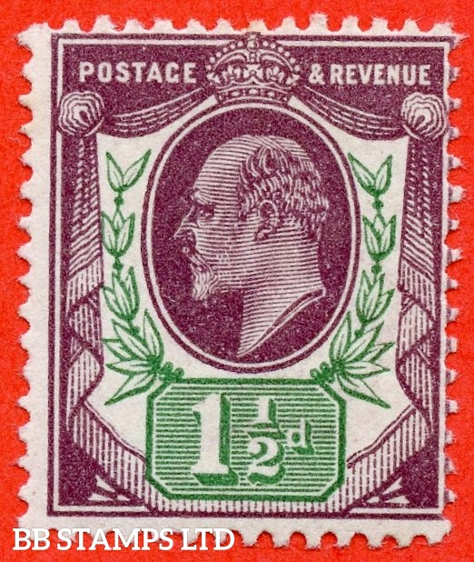 SG. M10 (9). 1½d dark purple & green ( GBF). A superb lightly mounted mint example complete with Hendon certificate.