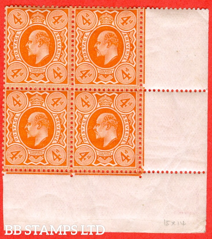 SG. 286 variety M27 (3). 4d Very Deep Orange. A fine mint ( 2 stamps UNMOUNTED MINT ) bottom right hand corner marginal block of 4.