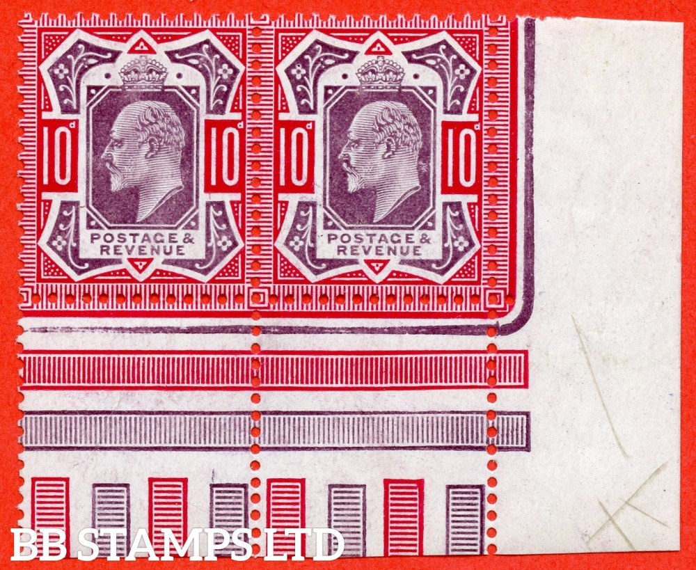 SG. 254b. M43 (1). 10d Dull Purple & Carmine ©. A very fine UNMOUNTED MINT ( mounted in the margin only ) bottom tight hand corner marginal pair.