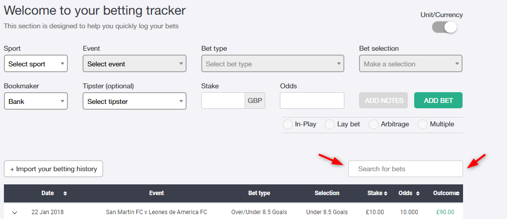Ability to search for events in your bet tracker