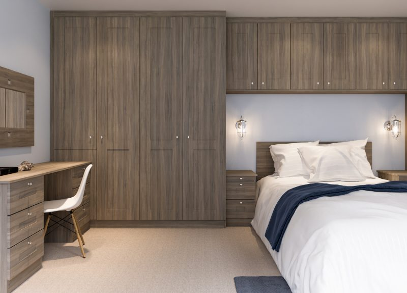 Shaker Smoked Elm Fitted Bedroom Furniture