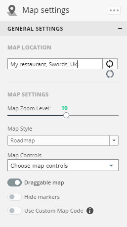 Map Settings - Building a restaurant website