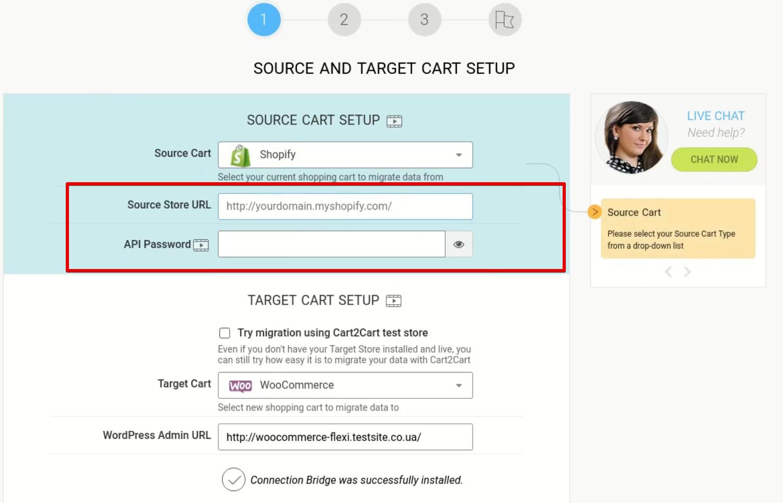source and target carrt setup