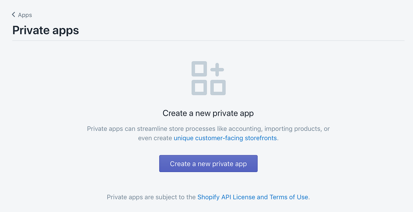 Create a new private app