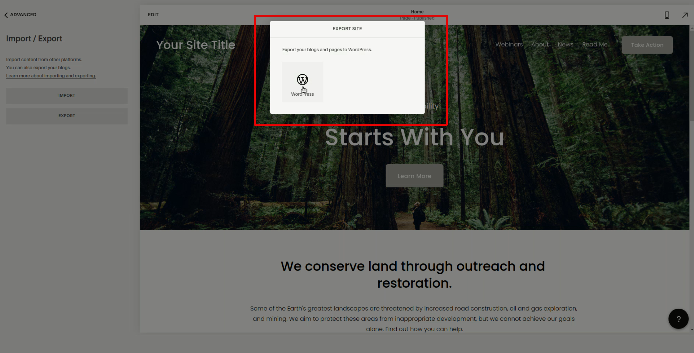 popup with the WordPress logo