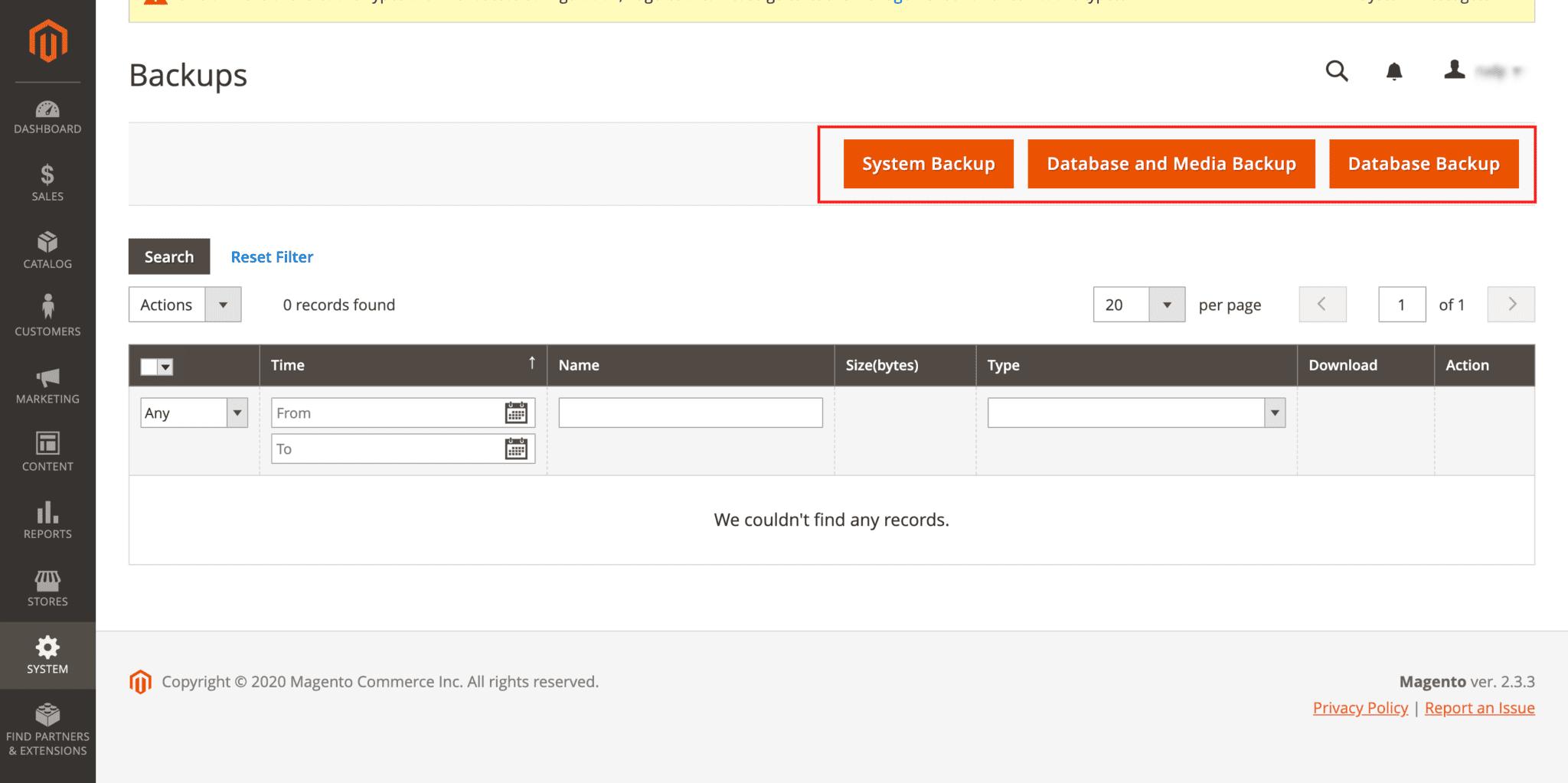 Select System Backup