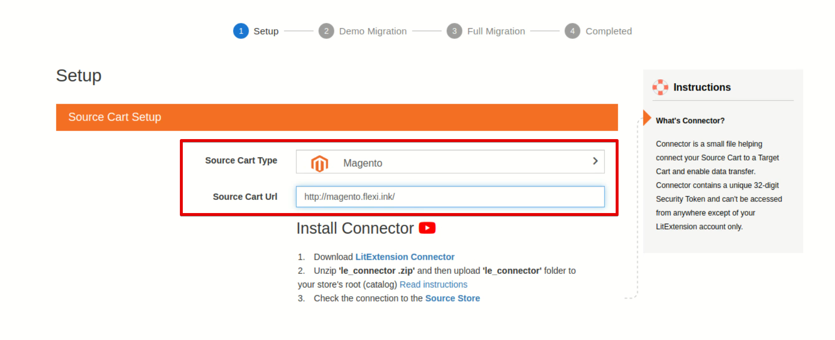 Choose Magento in the Source Cart Type field