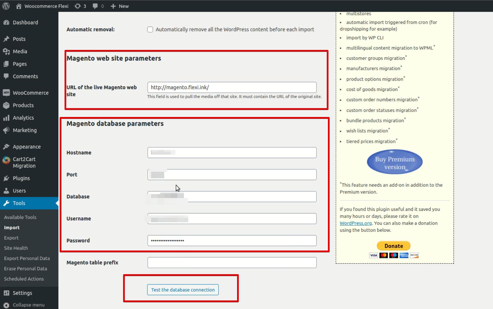 Magento web site parameters